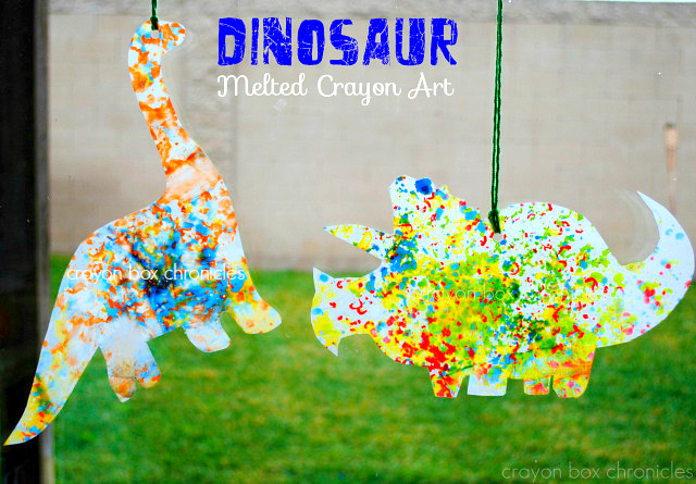 Dinosaur Melted Crayon Art by Crayon Box Chronicles