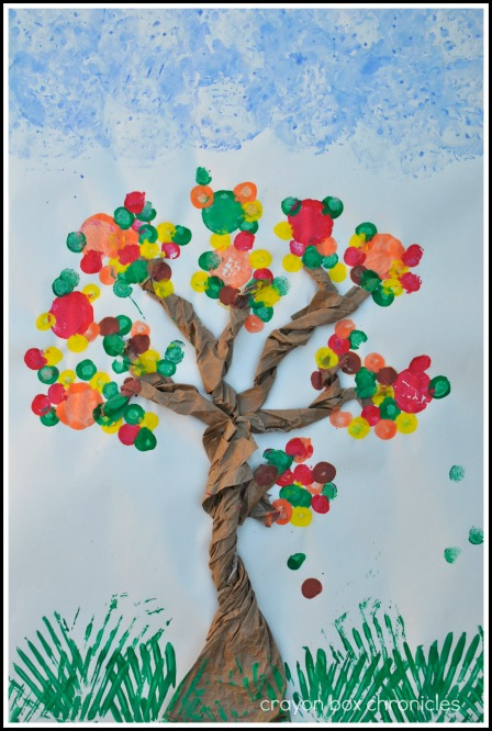 Tree Cork & Utensil Painting @ Crayon Box Chronicles