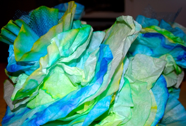 Dyed Coffee Filter Sea Coral - Under The Sea Birthday Party @ Crayon Box Chronicles