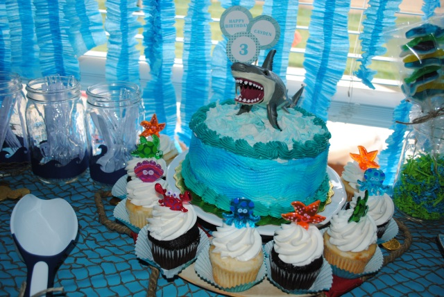 Shark Cake - Under The Sea Birthday Party @ Crayon Box Chronicles