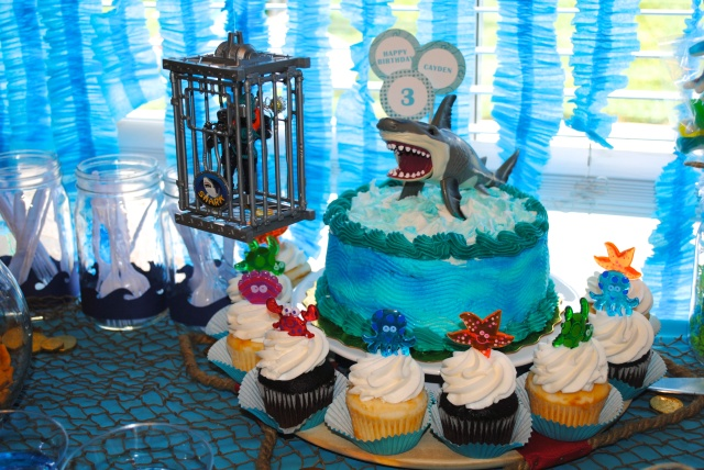 Scuba & Shark Cake - Under The Sea Birthday Party @ Crayon Box Chronicles