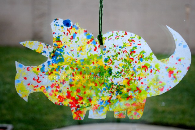 Dinosaur Melted Crayon Art @ Crayon Box Chronicles