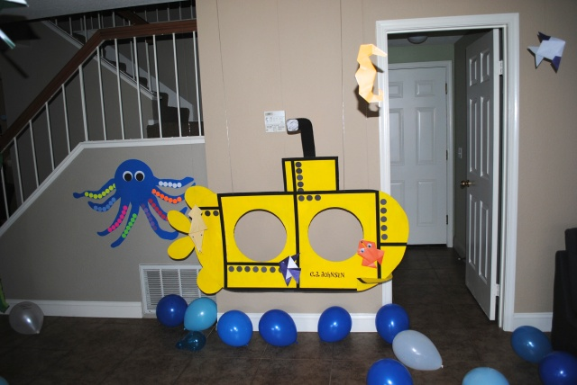 Submarine Photo Op for Under The Sea Birthday Party @ Crayon Box Chronicles