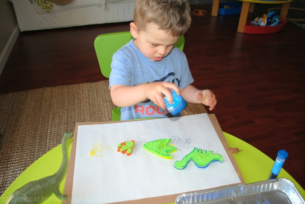 Dinosaur Sponge Painting @ Crayon Box Chronicles