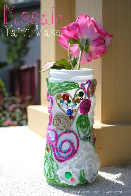 Yarn Mosaic Vase by Crayon Box Chronicles