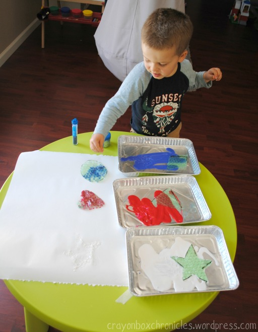 Shapes Bubble Wrap Painting by Crayon Box Chronicles