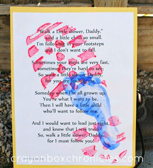 boot print poem wording for Father's Day card