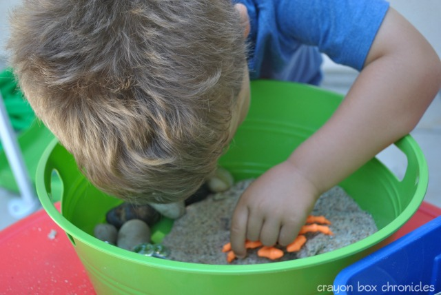 Sand Dough Beach Sensory Bin @ Crayon Box Chronicles