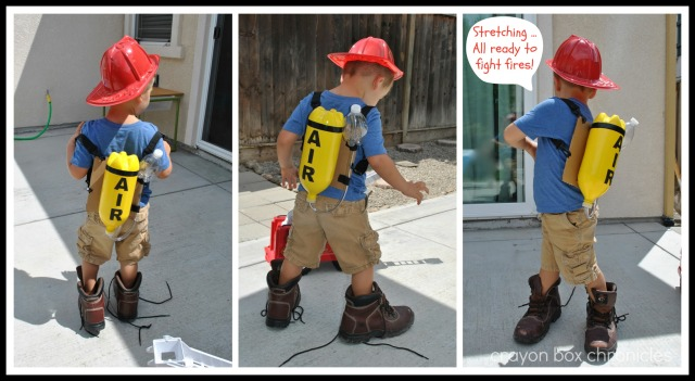 DIY Fireman Air Tank & Pretend Play @ Crayon Box Chronicles