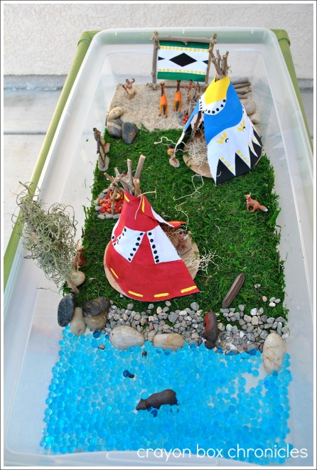 Native American Small World w/ Teepee & Drum Craft @ Crayon Box Chronicles
