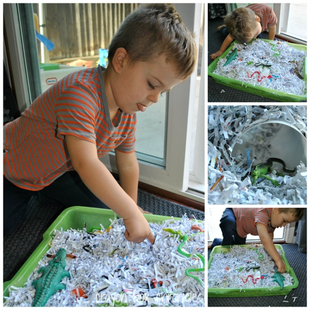 Reptile Shredded Paper Sensory Bin by Crayon Box Chronicles