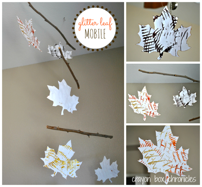 Glitter Leaf Mobile by Crayon Box Chronicles