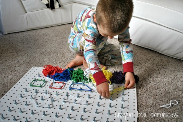 DIY Geoboard w/loops by Crayon Box Chronicles