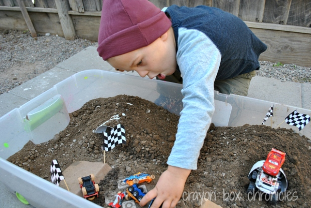 Monster Truck Sensory Bin by Crayon Box Chronicles