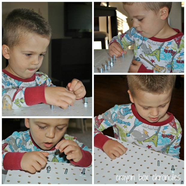 DIY Geoboard with Fabric Loops by Crayon Box Chronicles