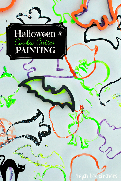 Halloween Cookie Cutter Painting by Crayon Box Chronicles