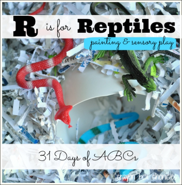 R is for Reptiles - Painting & Sensory Play by Crayon Box Chronicles