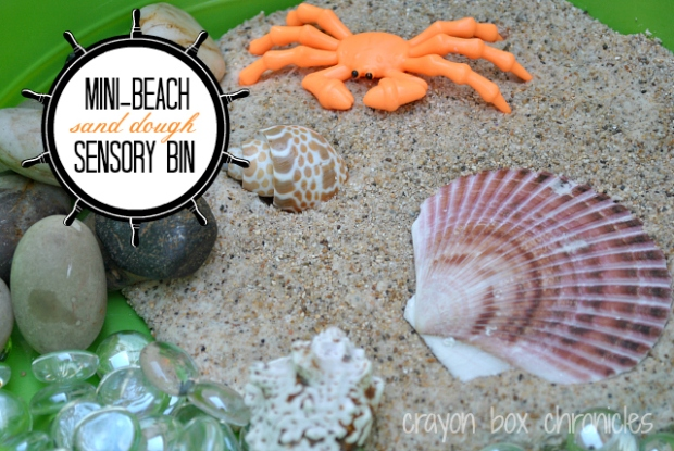 sand dough sensory bin by crayon box chronicles