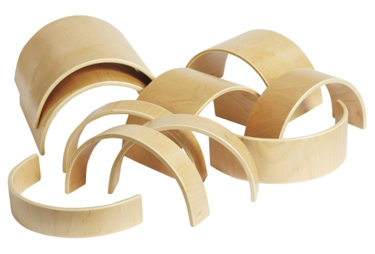 ECR4Kids Wooden Tunnels and Arches, 10-Piece Set
