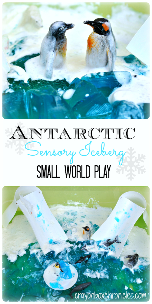 Antarctic Sensory Iceberg & Small World Play - Winter Sensory Play Series by Crayon Box Chronicles