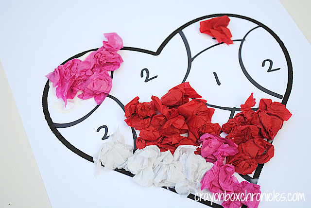 Heart Tissue Paper By Number Craft Crayon Box Chronicles