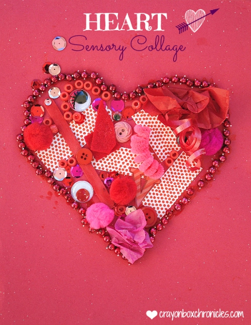 Heart Valentine Sensory Collage by Crayon Box Chronicles