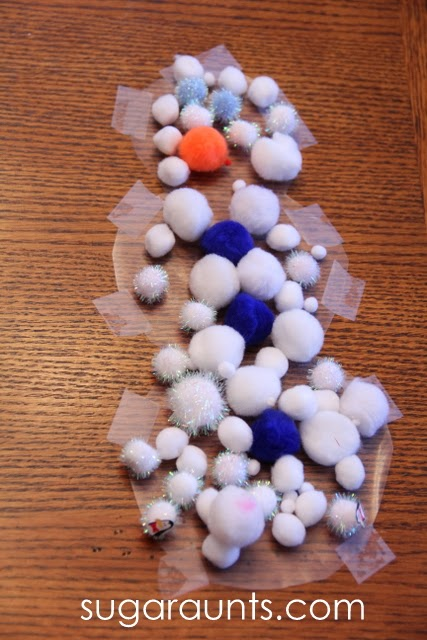 Snowman fine motor crafts for kids by Sugar Aunts