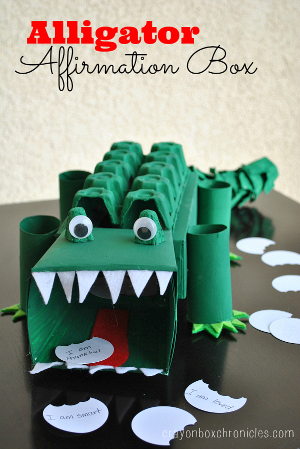 alligator affirmation box showing kids love crayon box chronicles alligator valentine box