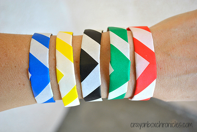 kid made origami olympic bracelets crayon box chronicles. Black Bedroom Furniture Sets. Home Design Ideas