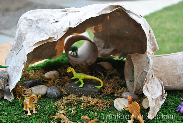 dinosaur paper mache cave