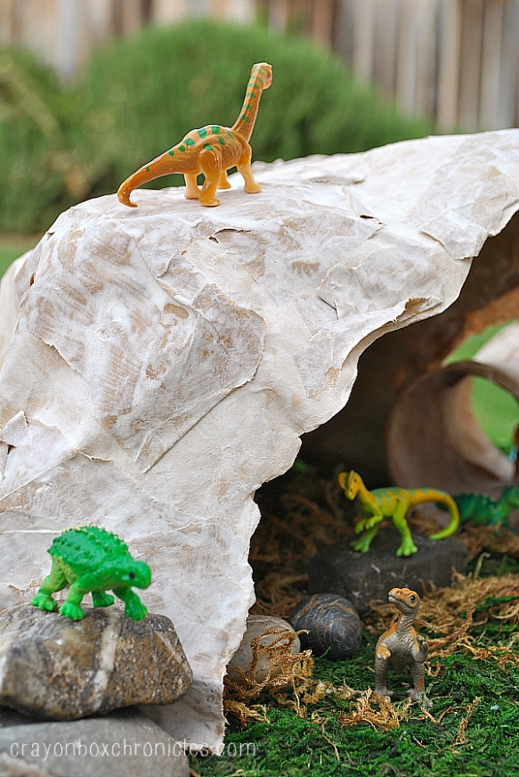 Dinosaur Diorama with Paper Mache Cave