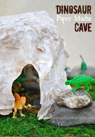Dinosaur Paper Mach Cave Small World Play by Crayon Box Chronicles