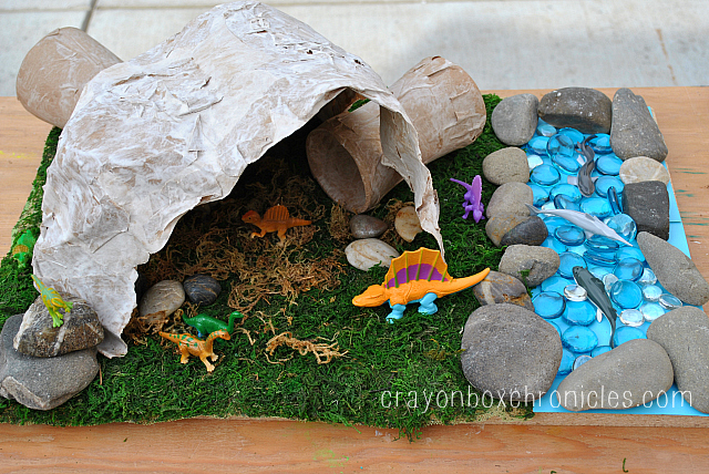 Paper mache dinosaur cave crayon box chronicles for How do you make paper mache glue at home