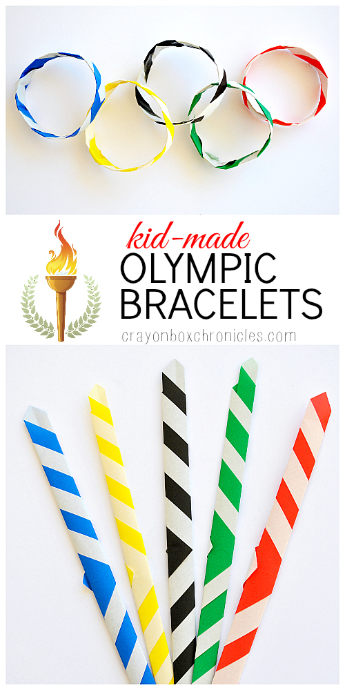 Kid-Made Origami Olympic Bracelets for opening day by Crayon Box Chronicles