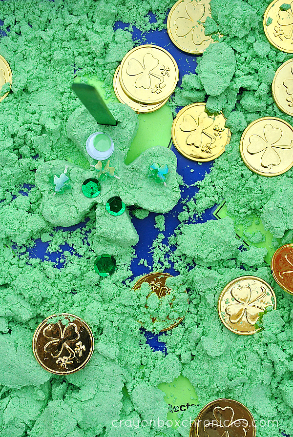 green foam dough play for St. Patty's Day