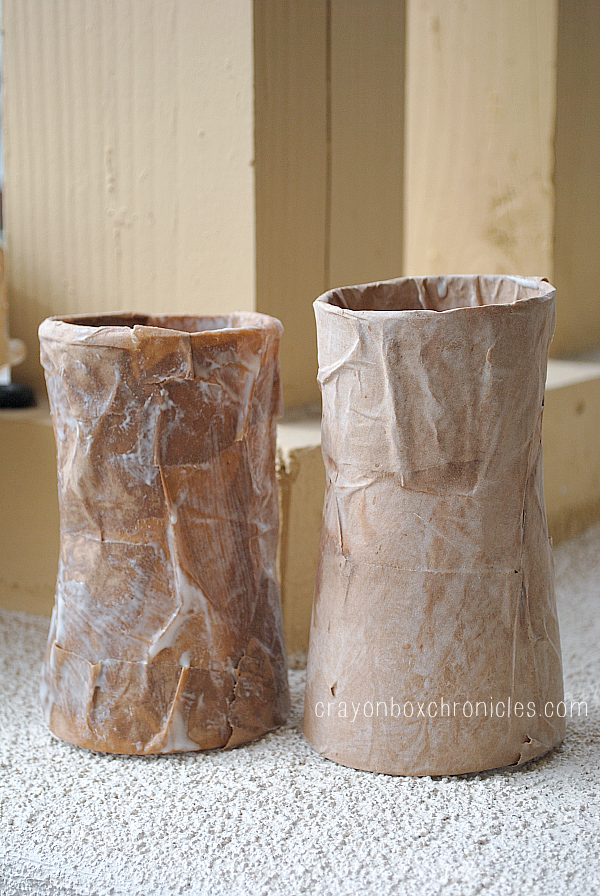 recycled containers with paper mache