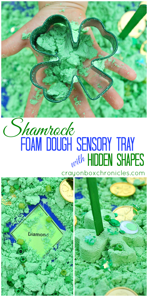 Shamrock Foam Dough Play with Hidden Shapes by Crayon Box Chronicles