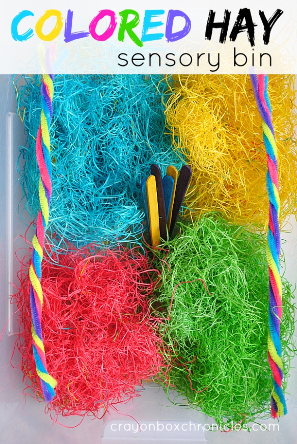 colored hay sensory bin