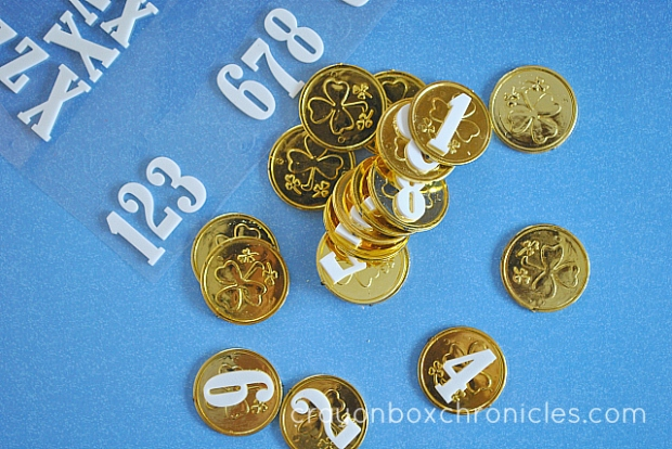 Foam number coins for matching game