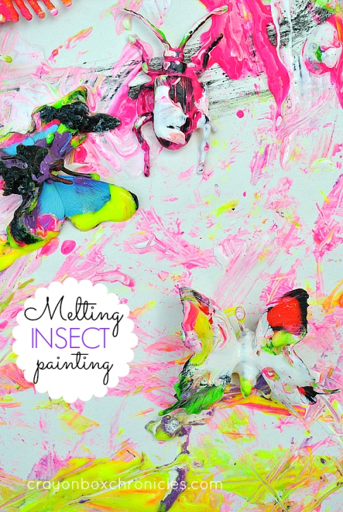 Melting insect sensory painting for kids