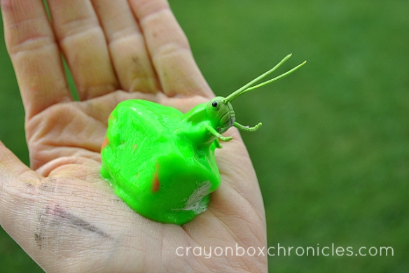grasshopper frozen in paint cube in hand