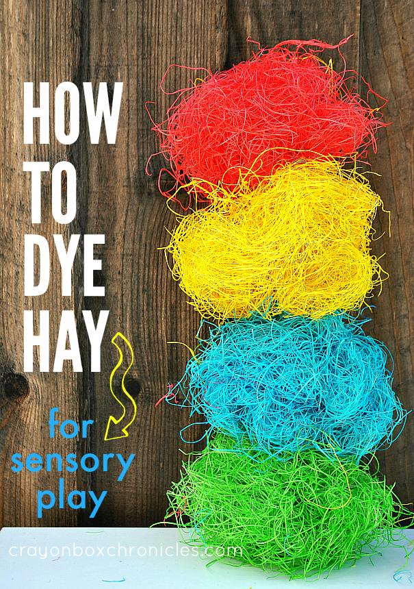 how to dye hay for sensory play