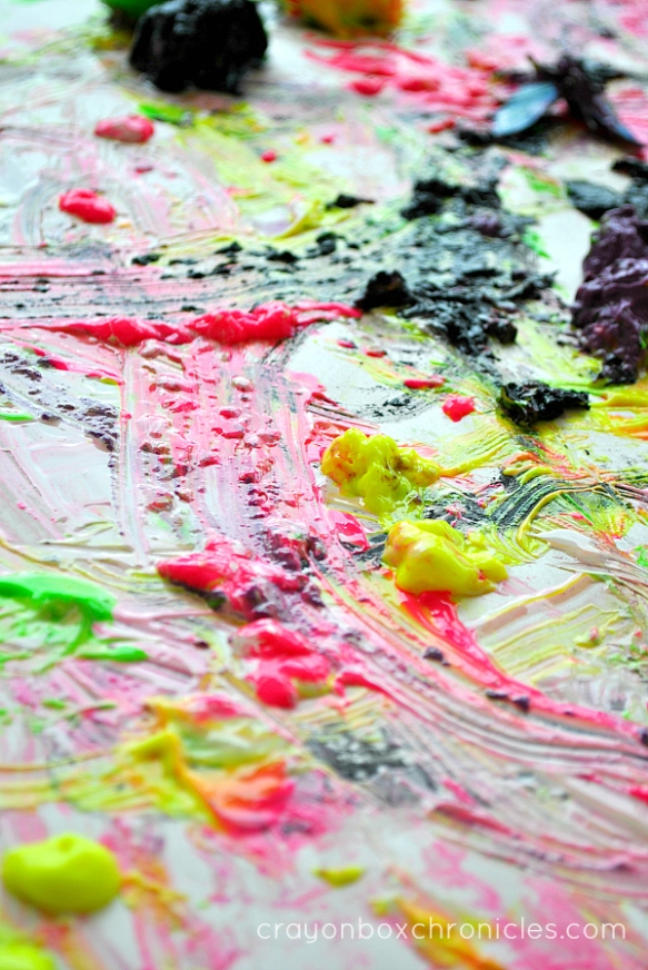melted paint during process art activity