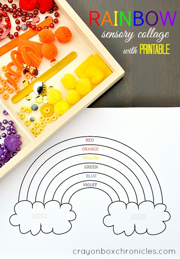 Rainbow sensory collage activity for St. Patty's Day