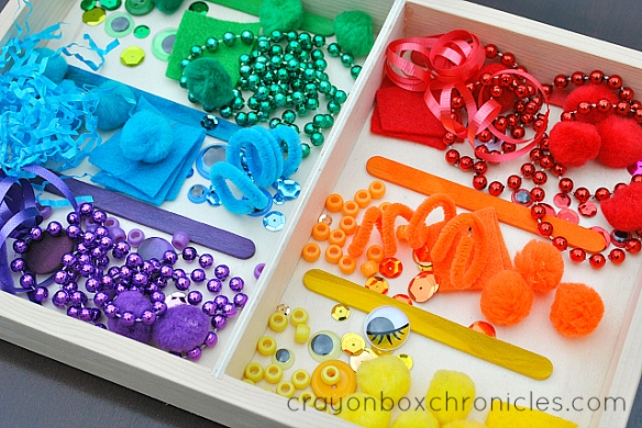 rainbow colored sensory materials