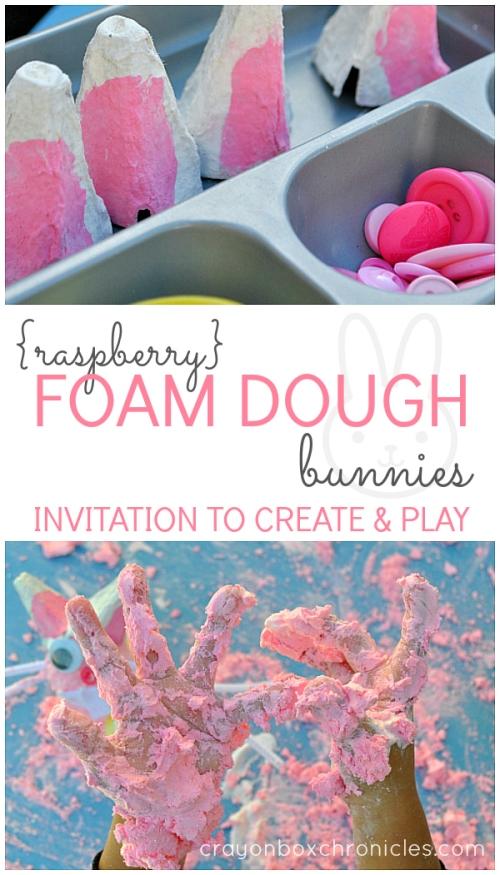 Raspberry Foam Dough Bunnies Activity for Easter