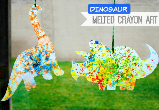 dinosaur melted crayon art