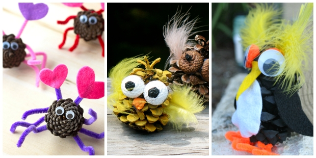 Animal and Insect Pine Cone Crafts for Kids