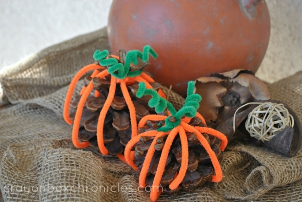 Easy Weaving Pine Cone Pumpkin Craft for Kids
