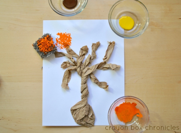 Autumn Tree Art Using Carpet Square Samples
